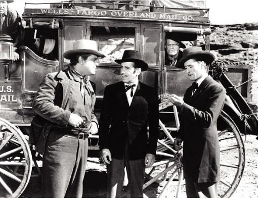 "Guinn Williams, Humphrey Bogart and Errol Flynn star in ""Virginia City""."
